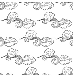 Vintage doodle cartoon clouds seamless pattern vector