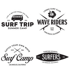 vintage surfing emblems for web design or print vector image
