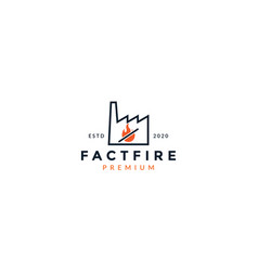Warning fire factory line logo vector