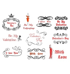 Calligraphic and vintage elements for Valentines vector image