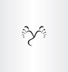 footprint step black icon vector image vector image