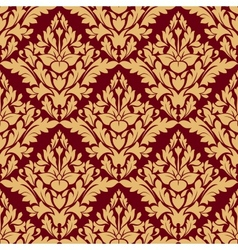 Maroon and orange damask seamless pattern vector image vector image