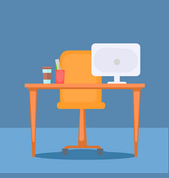 office with table computer and office stuff vector image