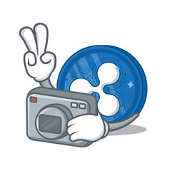 Photographer ripple coin character cartoon vector