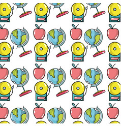 school tools with apple fruit background design vector image vector image