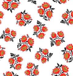 Seamless texture with embroidered poppies vector image vector image