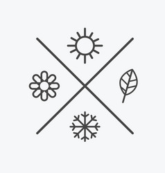 set four seasons icons the seasons winter vector image vector image