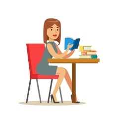 Woman Reading A Book At The Table Smiling Person vector image vector image