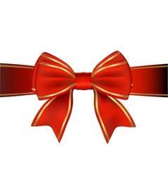 Red And Gold Bow And Ribbon Gift vector image vector image