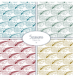 set of seamless patterns with four seasons vector image vector image