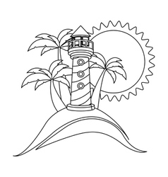 silhouette background beach and headlight vector image vector image