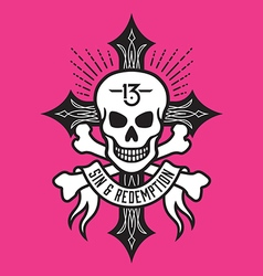 Skull and bones with cross vector image