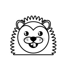 face porcupine animal outline vector image vector image