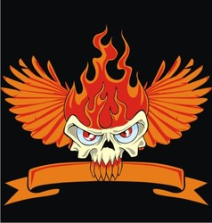 fire skull and wing vector image vector image