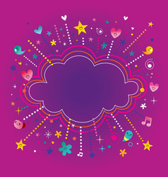 happy fun bursts explosion cartoon cloud shape ban vector image