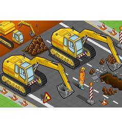 isometric yellow excavator in front view vector image vector image