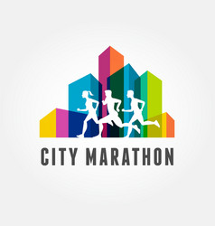 Running marathon icon and symbol with number vector image vector image
