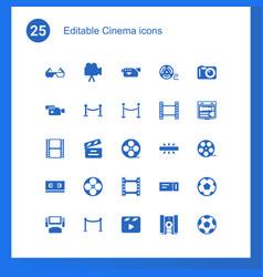 25 cinema icons vector image