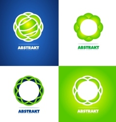 Abstract flower logo set vector image