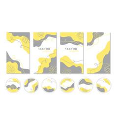 Abstract yellow gray organic shapes vector
