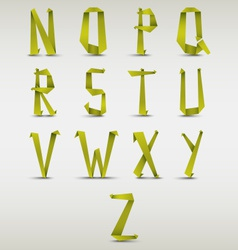 Alphabet folded green paper abstract template vector image