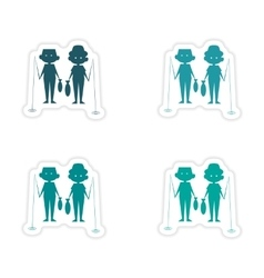 Assembly realistic sticker design on paper fishing vector