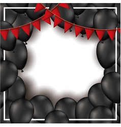 Background with red festoons and black balloons in vector
