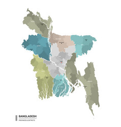 Bangladesh higt detailed map with subdivisions vector