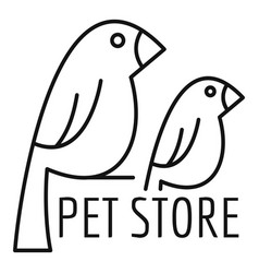 Bird pet store logo outline style vector