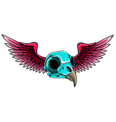 Bird skull with wings for tattoo design vector