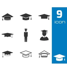 black academic cap icons set vector image
