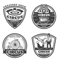Black vintage circus emblems set vector