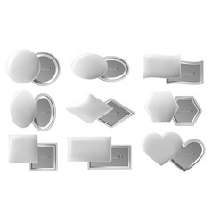 blank button badge realistic pin buttons white vector image