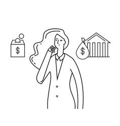 budget planning economy money plans thinking vector image