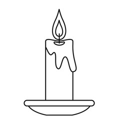 burning candle icon outline style vector image