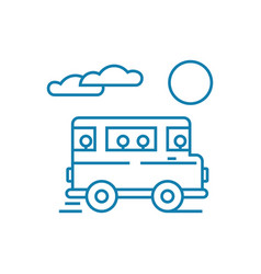 bus trip linear icon concept bus trip line vector image