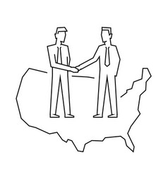 businessmen make a deal on usa outline vector image