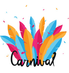 Carnival lettering with colorful party ribbons vector