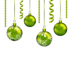Christmas balls with streamer and copy space vector