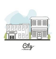city landscape market store building stree tree vector image