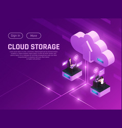 Cloud drive landing page vector