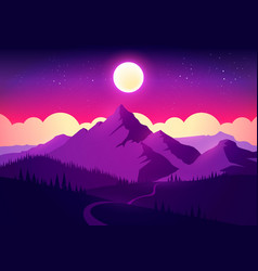 colorful landscape with mountain sky and forest vector image
