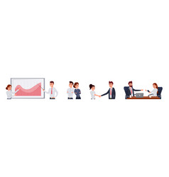 corporate people work flat set vector image