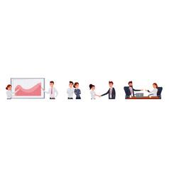 corporate people work flat set vector image