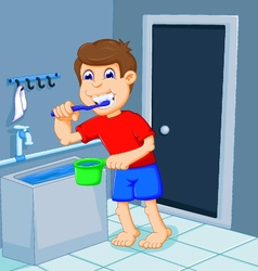 Cute boy cartoon brushing teeth in bath room vector