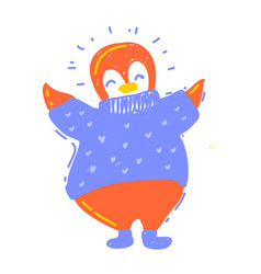 Cute happy winter penguin in sweater and winter vector