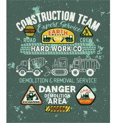 Cute kids roads construction company vector