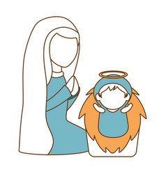 Cute virgin mary with jesus baby characters vector