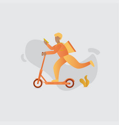 Delivery man with scooter vector