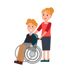 Disabled man and woman care vector